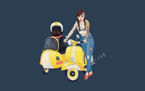Picture girl, dog, vector, motorcycle