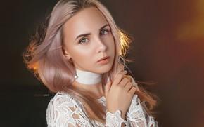 Picture look, girl, face, background, hair, hand, portrait, blonde, Alexander Drobkov-Light, Anastasia Makarenko