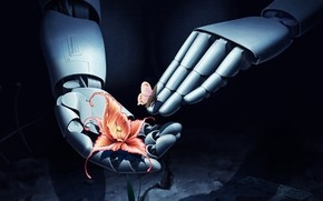 Picture love, fantasy, robot, flower, art, butterfly, mood, friendship, digital art, artwork, fantasy art, Hands