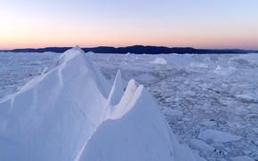 Picture cold, winter, snow, sunset, ice, horizon, ice, landscape, winter, snow