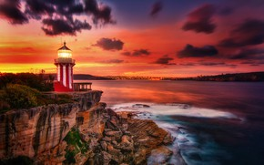 Picture sea, sunset, rock, lighthouse, Australia, Australia, New South Wales, New South Wales, Hornby Lighthouse, Watsons …