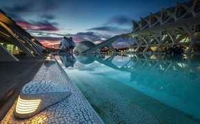 Picture the sky, clouds, the evening, Spain, Valencia, The city of arts and Sciences
