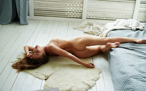 Wallpaper sexy, welcome, slim figure, beautiful blonde, charming girl, unusual posture, the light from the window, ...