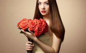 Picture look, girl, flowers, pose, photo, model, hair, roses, bouquet, makeup, beauty, Oleg Gekman