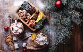 Picture new year, cookies, wood, chocolate, spices, hot chocolate, cookies, cinnamon