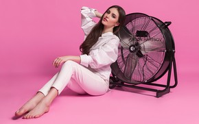 Picture look, girl, pose, feet, fan, pink background, pants, Anton Kharisov, Masha Bashmakova