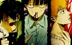 Picture collage, guys, trio, Mob Psycho 100, Kageyama Shigeo, Mob psycho 100, Arataka Reigate
