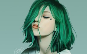Picture face, haircut, green hair, bangs, closed eyes, portrait of a girl