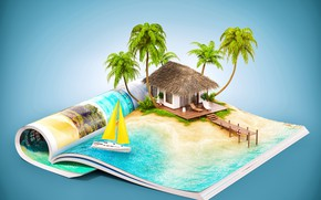 Wallpaper sea, the sun, house, tropics, palm trees, creative, background, island, yacht, pier, pierce, notebook, resort, ...