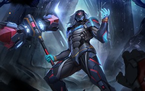 Picture fiction, hammer, art, armor, cyborg, Heroes of Newerth, Hammer storm, F.L.E.X.