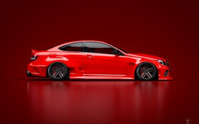 Picture Mercedes-Benz, Red, Auto, Machine, Mercedes, Car, C63, Widebody, Side view, Red background, Transport & Vehicles, …
