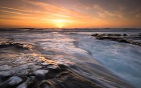 Picture sea, the sun, sunset, coast
