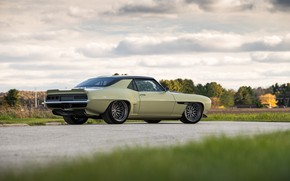 Picture Road, Grass, Trees, Chevrolet, Wheel, 1969, Camaro, Drives, Chevrolet Camaro, Muscle car, Classic car, Wide …