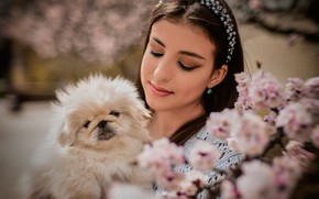 Picture girl, nature, spring, makeup, brunette, dog, flowering, doggie, Anastasia Donskaya