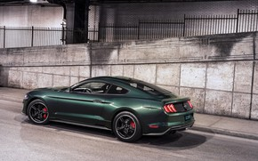 Picture wall, street, Ford, 2018, V8, Mustang Bullitt, 5.0 L., 460 HP, fastback