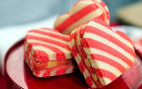 Picture cookies, hearts, striped