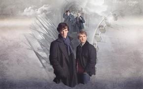 Picture collage, haze, Sherlock Holmes, Martin Freeman, Benedict Cumberbatch, Sherlock, Sherlock BBC, Sherlock Holmes, John Watson, …