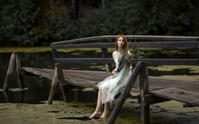 Picture girl, bridge, river