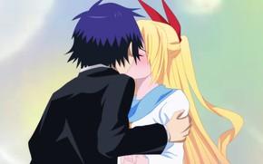 Picture girl, romance, kiss, anime, art, guy, two, Nisekoi, Feigned love