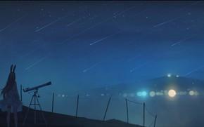 Picture girl, mountains, night, telescope, ears, bokeh, Starfall