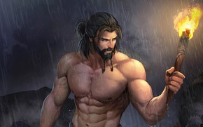 Picture rain, man, torch, beard