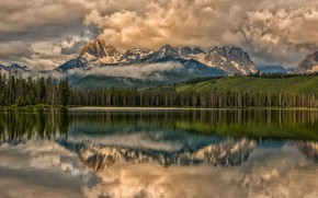 Picture clouds, landscape, nature, beauty, Mountains, Lake