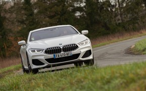 Picture white, grass, coupe, BMW, roadside, 2018, 8-Series, Eight, G15, 840d xDrive M Sport