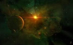 Picture The sun, Stars, Planet, Space, Nebula, Star, Planet, Fantasy, Planets, Art, Stars, Space, Art, Satellite, …