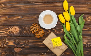 Picture gift, coffee, bouquet, Spring, The celebration, Happy, Mother's day