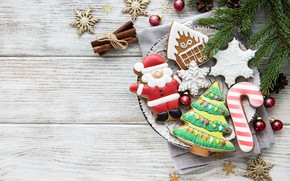 Picture snowflakes, holiday, new year, cookies, figures, composition, ginger, Olena Rudo