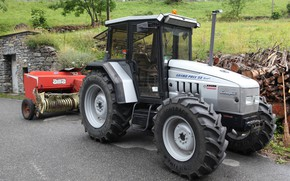 Picture asphalt, Lamborghini, tractor, wood, farm, Lamborghini, tractor, Lamborghini grand Prix 95