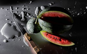 Picture drops, light, the dark background, table, watermelon, slice, contrast, knife, shadows