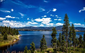 Picture summer, the sky, water, trees, mountains, lake