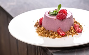 Picture raspberry, mint, dessert
