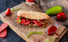 Picture bread, pepper, vegetables, sauce, tomatoes, sausage, ketchup, sandwich