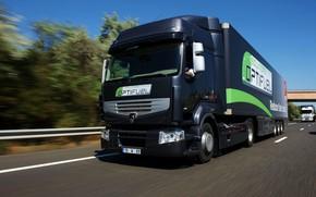 Picture movement, black, track, truck, Renault, tractor, 4x2, the trailer, Premium Route, Renault Trucks