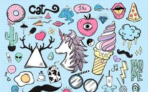 Picture figure, milk, glasses, unicorn, ice cream, heart