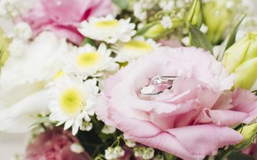 Picture bouquet, ring, wedding, Wedding