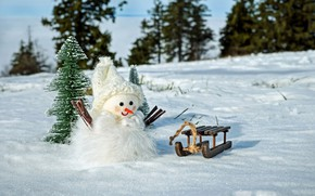 Picture winter, forest, snow, branches, nature, holiday, hat, toy, ate, Christmas, the snow, New year, fur, …
