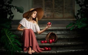Picture house, apples, girl