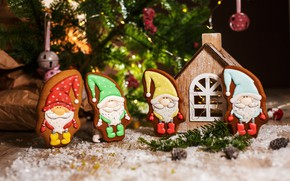 Picture holiday, new year, Christmas, house, figures, decor, composition, gingerbread