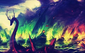 Picture the wreckage, fire, flame, ships, Game Of Thrones, sinking ship, naval battle, Game of Trones