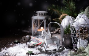 Picture toys, New year, horse, composition, Iryna Melnyk