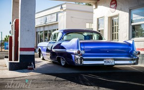 Picture Car, Blue, Coupe, Cadillac Deville, Filling station