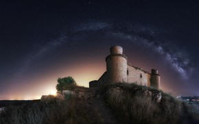 Picture night, nature, castle