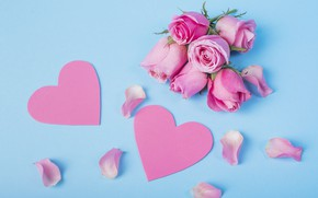 Picture hearts, pink, buds, ROSES