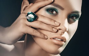 Picture girl, style, hand, portrait, makeup, ring