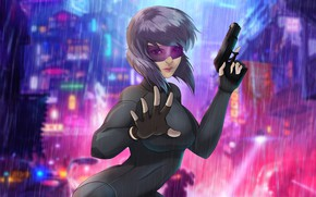 Picture Girl, Figure, Girl, Weapons, Japan, Ghost, Gun, Art, Ghost in the shell, Female, Rain, Ghost …