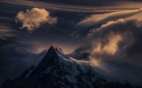 Picture clouds, snow, mountains, bird, bird, mountains, clouds, snow, Marc Adamus