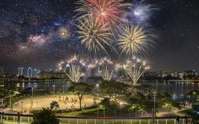 Wallpaper night, the city, salute, panorama, Singapore